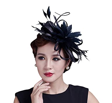 Elainecloset Feather Fascinator Evening Party Wedding Ball Derby