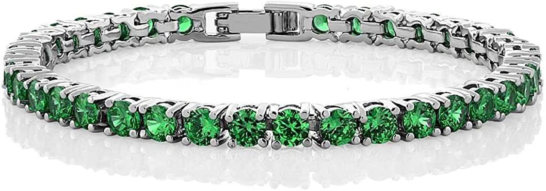 "5 Ct Round Cut Green Peridot 14k White Gold Over 7/"" Tennis Engagement Bracelet"