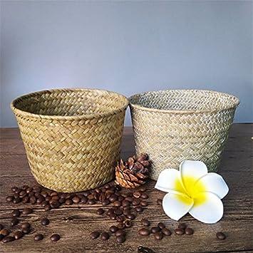 Bureze Hand Woven Flower Basket Straw Storage Basket Round Containing Debris Home Furnishing & Bureze Hand Woven Flower Basket Straw Storage Basket Round ...