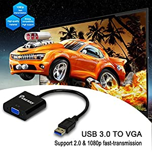 USB 3.0/2.0 Male to VGA Female Multi Monitor External Video Card Adapter for Windows 7/8 Multiple Monitors -(Black)