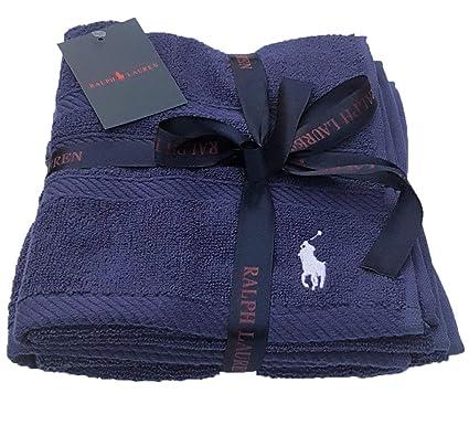 ce07c527ea81 Polo Ralph Lauren Towel Navy 2 Pack Small Guest Gym 60 x 40cm   Amazon.co.uk  Kitchen   Home