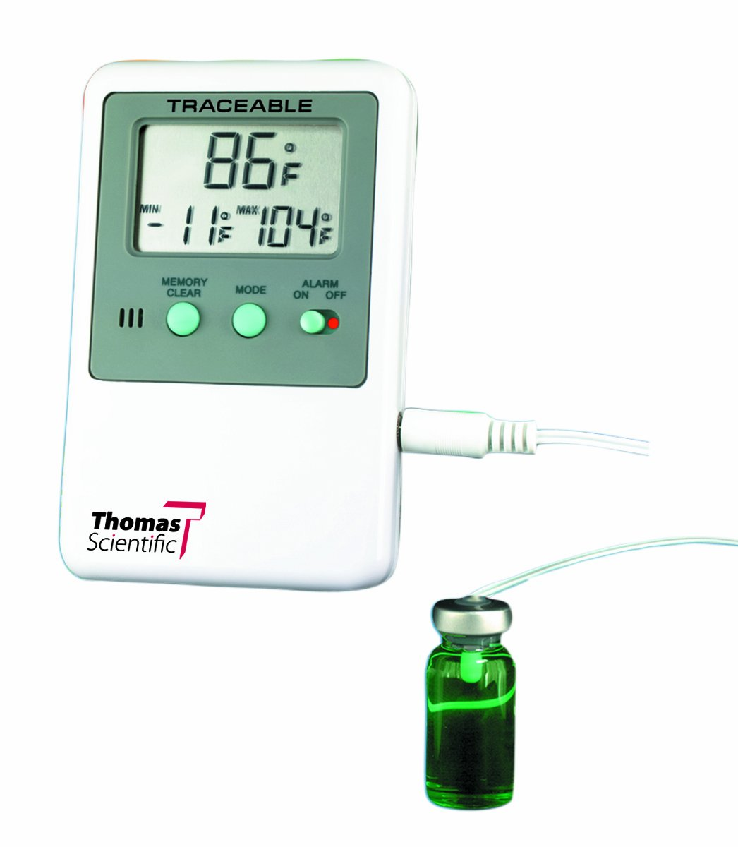 Thomas ABS Plastic Traceable Refrigerator and Freezer Thermometer, with Bottle Probe, -58 to 158 degree F, -50 to 70 degree C