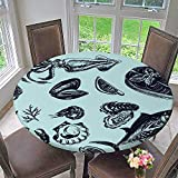 kitchen 67 menu PINAFORE HOME Round Tablecloth Vector Sketch sea Collection Seafood menu Squid sea Scallop Salmon Mussels for Kitchen 67
