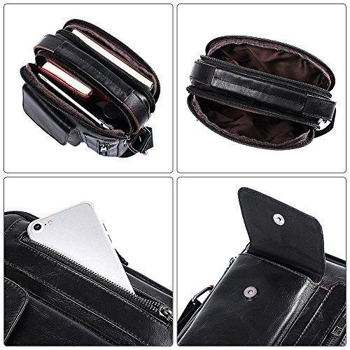 Messenger Casual Satchel Nubuck Genuine Folding Black Cowhide Men's Bag Brown Slim Shoulder Crossbody Leather AxzFtqwH