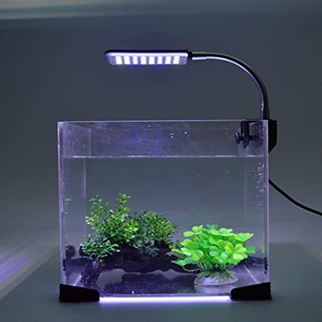 Asvert Lámpara de Acuario LED Iluminación de 3w con Fijador y Cuello Ajustable