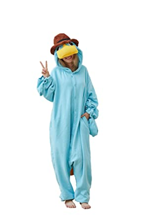 a8ca8e32a3bf Ailancos Unisex Adult Platypus One-Pieces Pajamas Christmas Sleepwear  Costumer Sky Blue Halloween S