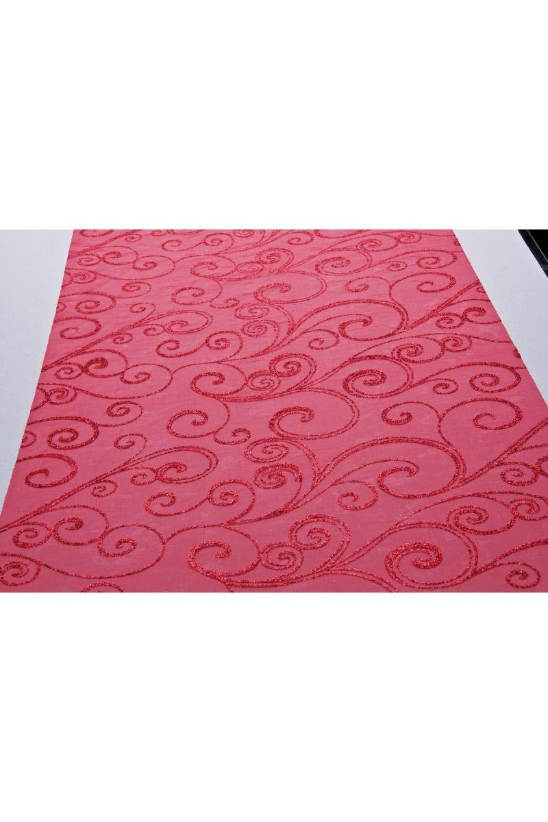Chaks C52030030 Chemin de Table Organza Arabesques 36cm x 5m Rouge//Rouge