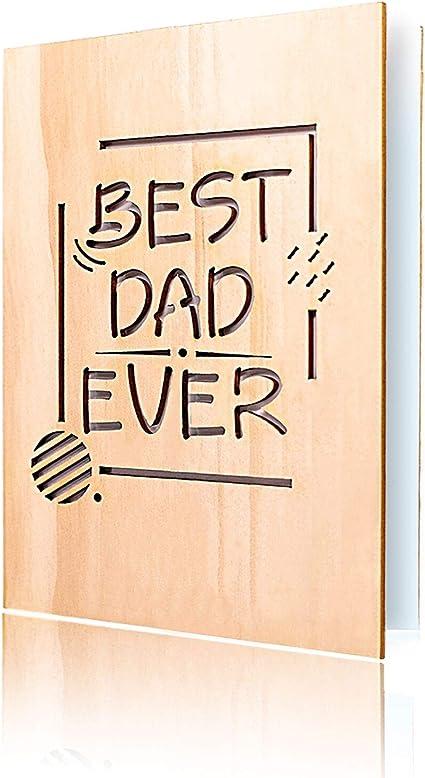 in vero legno con busta Biglietto di auguri per la festa del pap/à