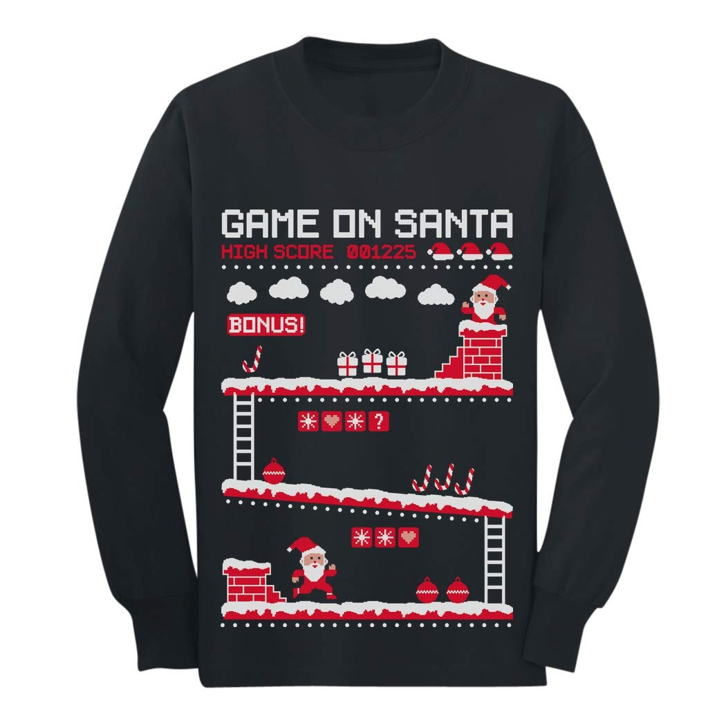 Video Game On Santa 8bit Ugly Chritsmas Gamers Youth Kids Long Sleeve T-Shirt GaMPMt3gCm