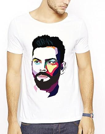 c43750d1 642 Stitches Virat Kohli Pop Art Face Men's Cotton Round Neck T-Shirt:  Amazon.in: Clothing & Accessories