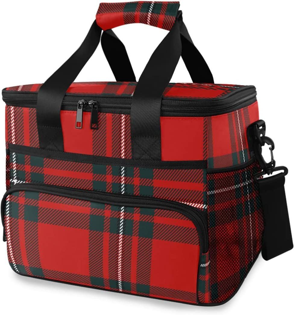 Picnic Lunch Bag Scottish Black Red Plaid Tartan Pattern Thermal Cooler Shoulder Strap Portable Box Meal Food Container Insulated Lunch Tote Travel Office School