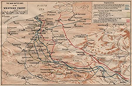 WESTERN FRONT MAIN BATTLE LINES Vintage Map WW First World War - Vintage maps uk