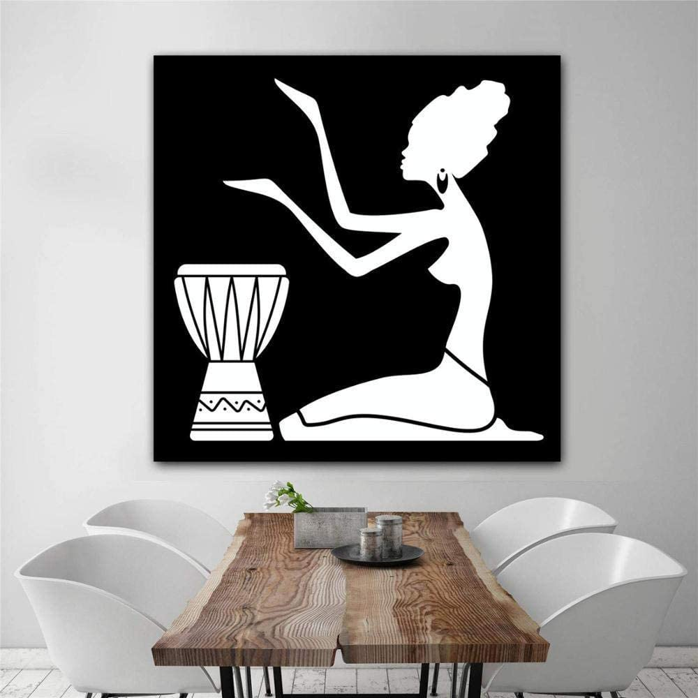 fancj Las Mujeres africanas Silueta Vintage Poster Imprime Pintura al óleo sobre Lienzo murales artísticos para Cuadros de Pared para la decoración de la Sala de Estar
