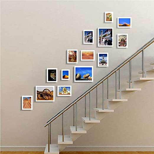GUOOK Marco Escalera Decorativa Foto Colgante de Pared Pared ...