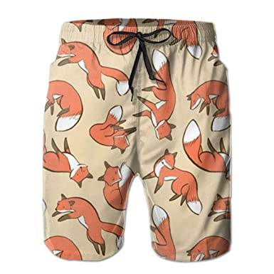 b48207cfd8 AMRANDOM Men's Swim Trunks Funny Fox Art Quick Dry Swimwear Bathing Suit  with Pocket, Kids