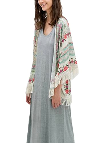 La Mujer Casual Batwing Sleeve Floral Print Frontal Abierto Kimono Túnica Cardigan Sweater