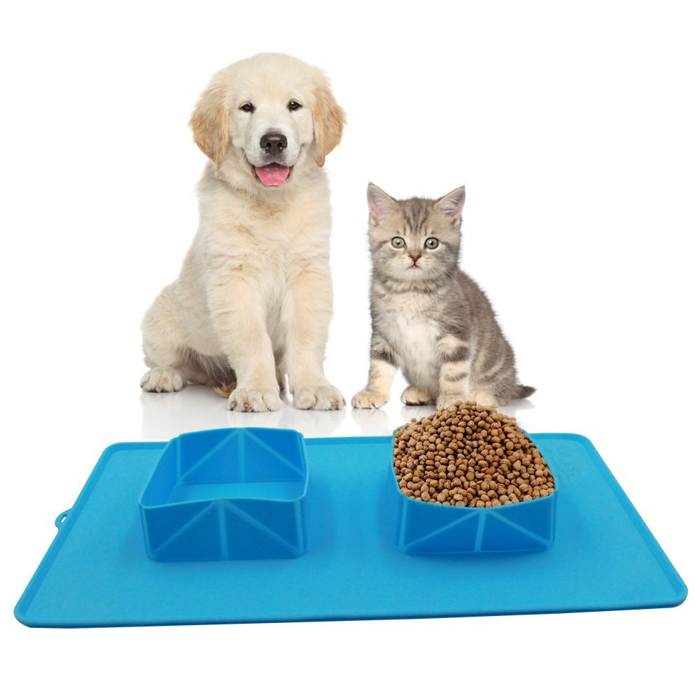 ABDQPC Pet Travel Bowl Set, – Silicone Roll Up Mat with Collapsible Food Water Double Bowls, Dog feeding Bowl Set for Pet Feeding at Home, Travel and Camping
