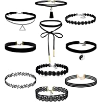 Choker Necklace, Angerico 10 Pieces/Set Charming Stretch Velvet Classic Gothic Tattoo Lace Choker