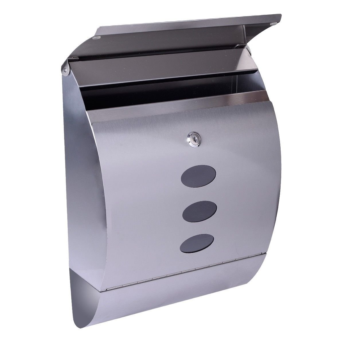 Stainless Steel Wall Mount Mail Box w/Retrieval Door & Newspaper Roll & 2 Keys