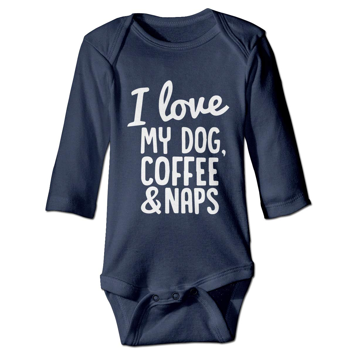 Coffee and Naps 1 Unisex Button Playsuit Outfit Clothes Infant Baby Boys Girls Long Sleeve Climb Jumpsuit I Love My Dog