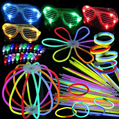 Glow Party Box | 100 Glow Sticks with Multiple Connectors | 20 LED Finger Lights | 4 LED Stunner Flashing Shades | The Perfect Way to Bring Creative Fun in all Occasions and Parties