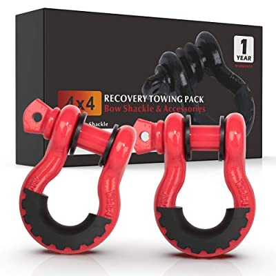 """FieryRed 3/4"""" D Ring Shackle (2 Pack) 22,046Ibs Break Strength with 7/8"""" Locking Pin and Black Isolator & Washer Kits for use With Tow Strap, Winch & Bubba Rope, 1 Year Warranty: Automotive"""