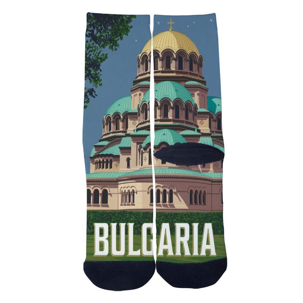 World Vintage Travel Poster Bulgaria Socks Mens Womens Casual Socks Custom Creative Crew Socks