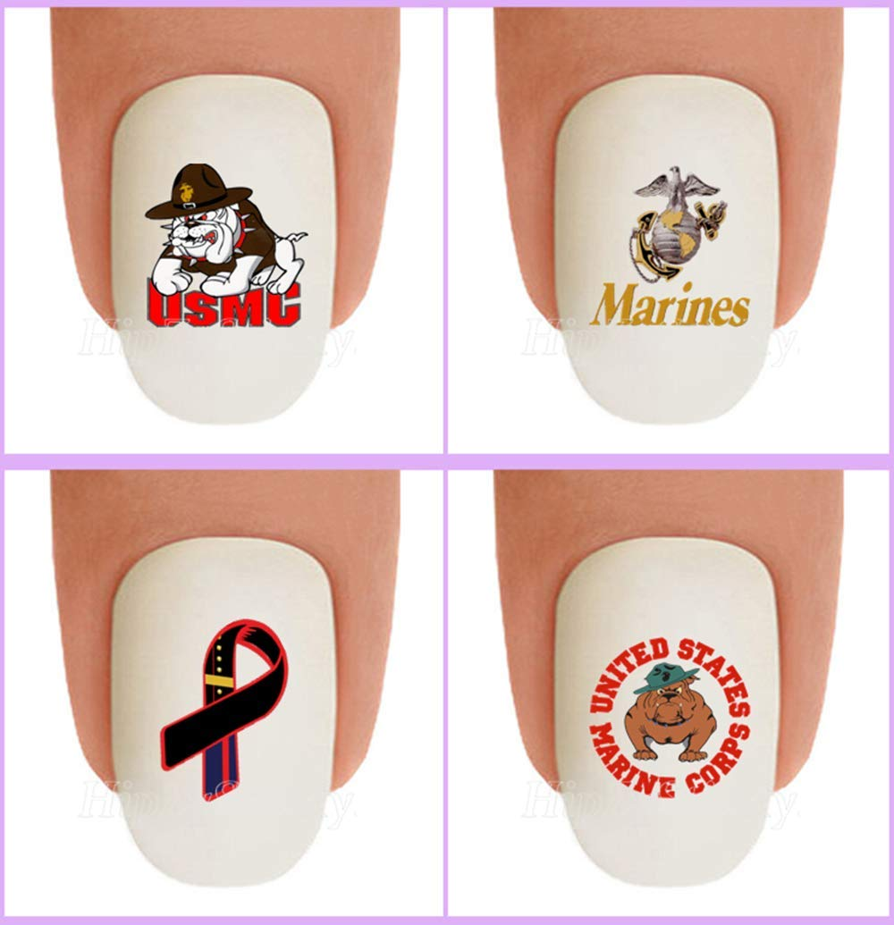 amazon com 40pc nail art decals waterslide nail transfers stickers military marine usmc devil dogs logo marine ribbon nail decals salon quality diy nail accessories beauty amazon com