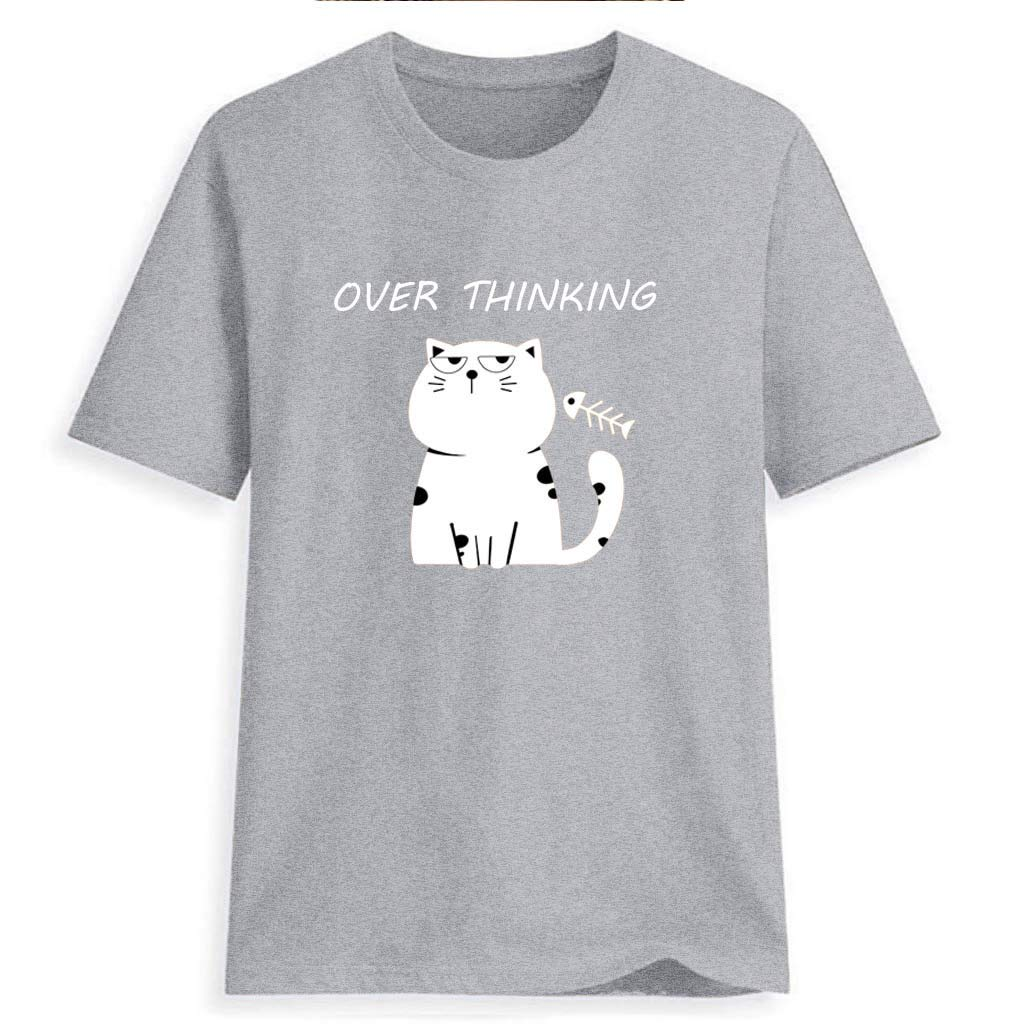 Women Cat Printing Tees Shirt Short Sleeve Round Neck T Shirt Casual Blouse Loose Fit Tunic Tops for Girls Ladies