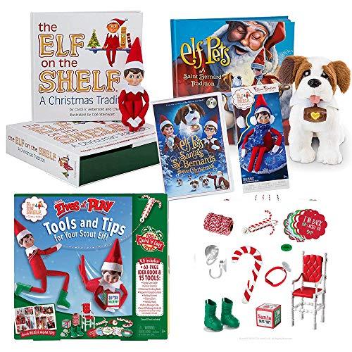 The Elf on the Shelf Play Bundle Blue Eye boy Elf, Totally Tubular Snow Set, Elf Pet Saint Bernard, Santa's St. Bernards Save Christmas DVD, Bonus Scout Elves at Play Set (Letter From Elf On Shelf To Child)