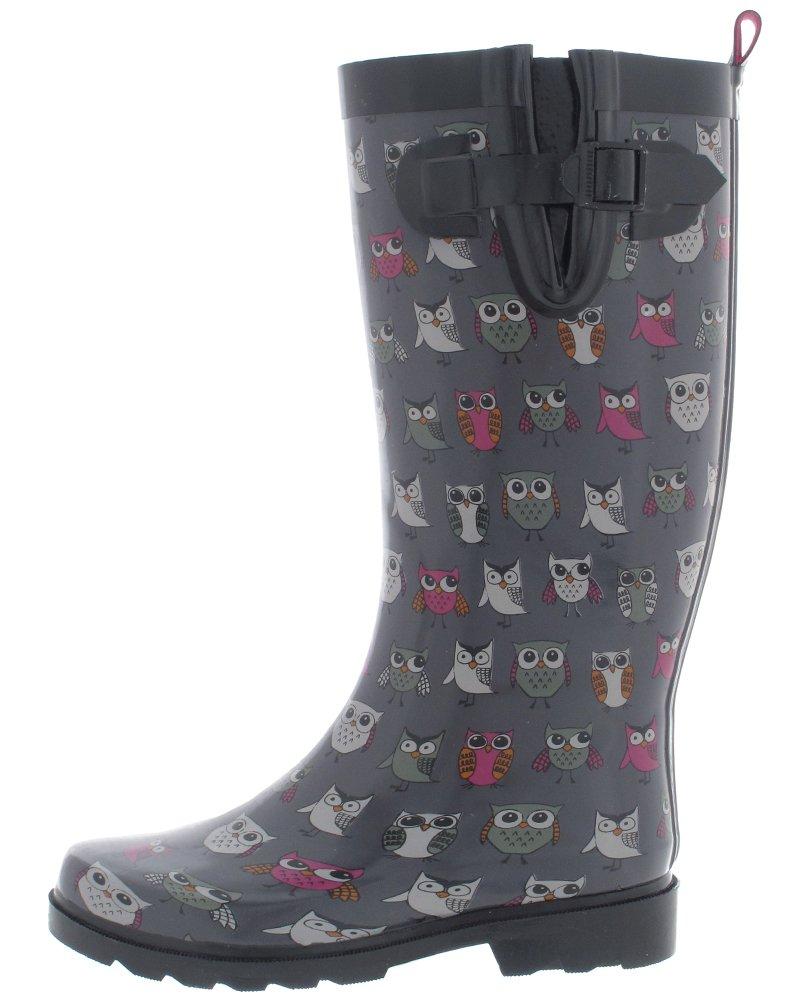 813a2706dd7 Galleon - Capelli New York Ladies' Shiny Pop Owls Printed Rain Boot Grey  Combo 8