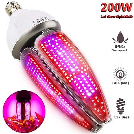 Lámpara de Plantas Espectro Completo 200W Impermeable IP65 Luces Led Cultivo 360 grados Iluminación E27 Lampara