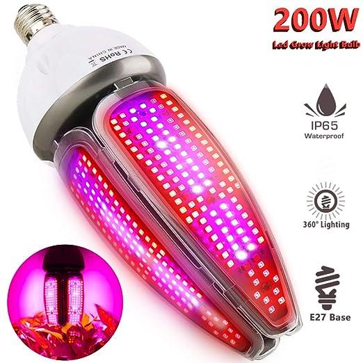 Lámpara de Plantas Espectro Completo 200W Impermeable IP65 Luces Led Cultivo 360 grados Iluminación MILYN E26