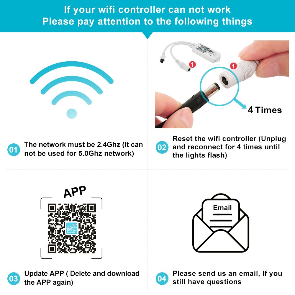 Nexlux WiFi Wireless LED Smart Controller Alexa Google Home IFTTT Compatible,Working with Android,iOS System, GRB,BGR, RGB LED Strip Lights DC 12V 24V(No Power Adapter Included) by Nexlux (Image #6)