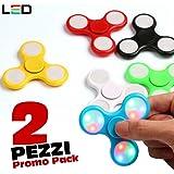 Bakaji Spinner con LED Luminosi Fidget Antistress 2 PEZZI PROMO PACK Gioco Rilassante 3D Tri-Spinner Gioco Dita Mano Anti-Stress Colori Assortiti