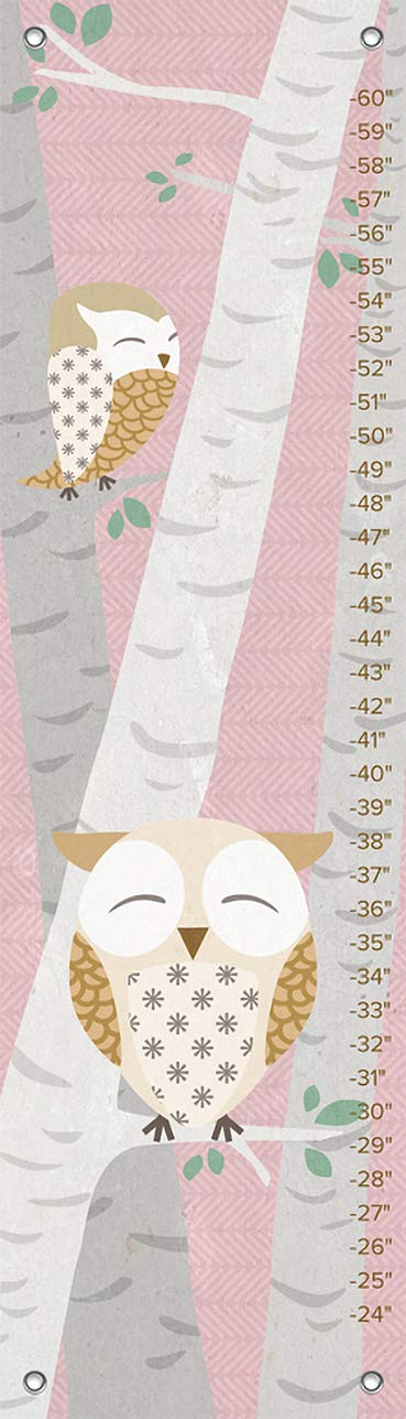Oopsy Daisy Birchwood Owl Growth Chart, Pink, 12'' x 42''