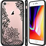 Cute Designer Protective iPhone 7/8 Case for Girls with Luxury Black Floral Case for Women - Hard Plastic Back Shell iPhone 7/8 Case - QI Compatible - TPU PC Shockproof Rubber Vintage Case