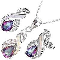 "Hermosa Opal Jewelry Set Women Pendant Necklace Stud Earrings Sapphire Rainbow Mystic Topaz with 18"" Chain"