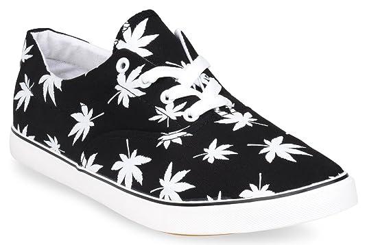 Hipster Mens Marijuana Weed Leaf Skate Shoe, Black, 8 D(M) US