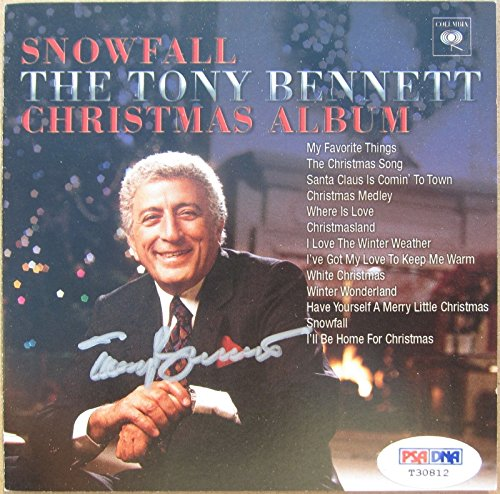 Cards Christmas Snowfall (Tony Bennett signed CD Cover Booklet Snowfall Christmas Album PSA/DNA auto)