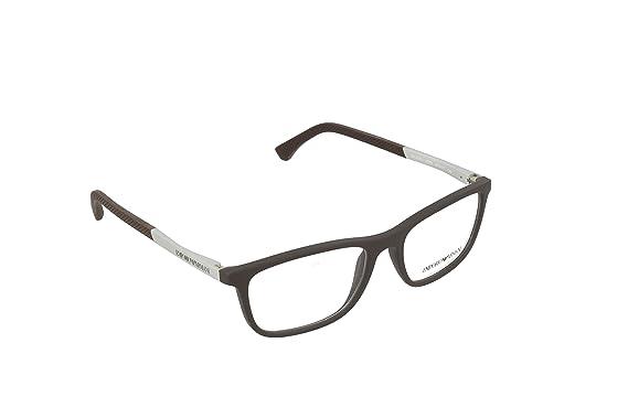 a5362e9c5f1 Armani EA3069 Eyeglass Frames 5064-53 - Brown Rubber at Amazon Men s ...