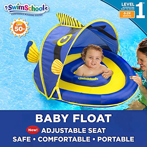 SwimSchool Angel-The-Fish Fabric Baby Boat, Splash and Play, Adjustable Safety Seat, Extra-Wide Inflatable Pool Float