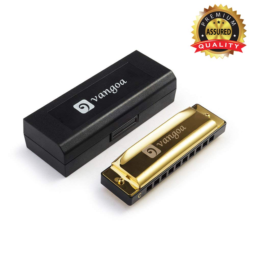 Diatonic Harmonica Key of C Professional Standard 10 Hole and 20 Tones with Case, Best Harmonicas Suitable for Beginners, Kids and Adults, Golden, by Vangoa