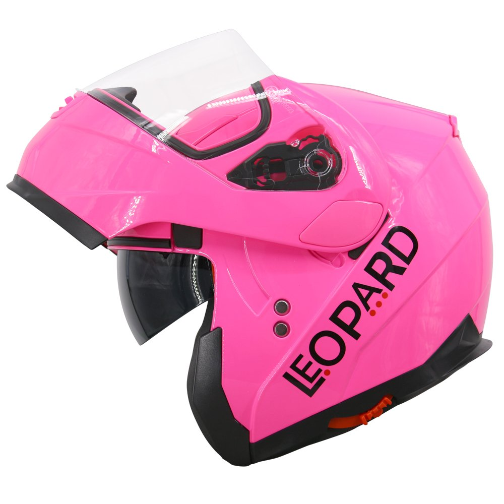 Extra Dark Smoke Visor Leopard LEO-838 Modular Flip up Front Motorbike Motorcycle Helmet Black M 57-58cm
