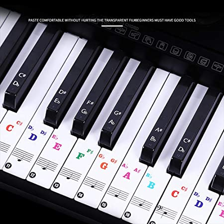 Paquete de 2 pegatinas de piano para teclas blancas y negras, pegatinas para teclado de piano 88/61/54/49/37 juego completo de pegatinas para niños ...