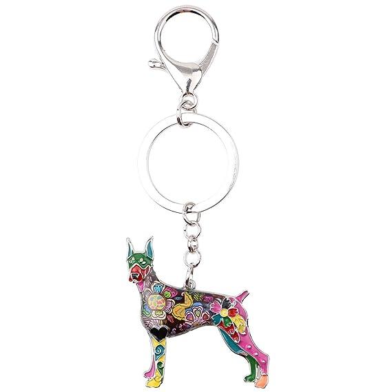 Amazon.com: bonsny esmalte perro Doberman de aleación llave ...