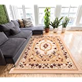 Aubusson Floral Medallion Ivory 8x10 (7 10  x 9 10 ) Mansion Room Area Rug Timeless French Traditional Easy Care...