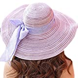 LOVEHATS Women Outdoor Large Beach Straw Hat With Bowtie Fashion Summer Hats Woman's Sun Caps