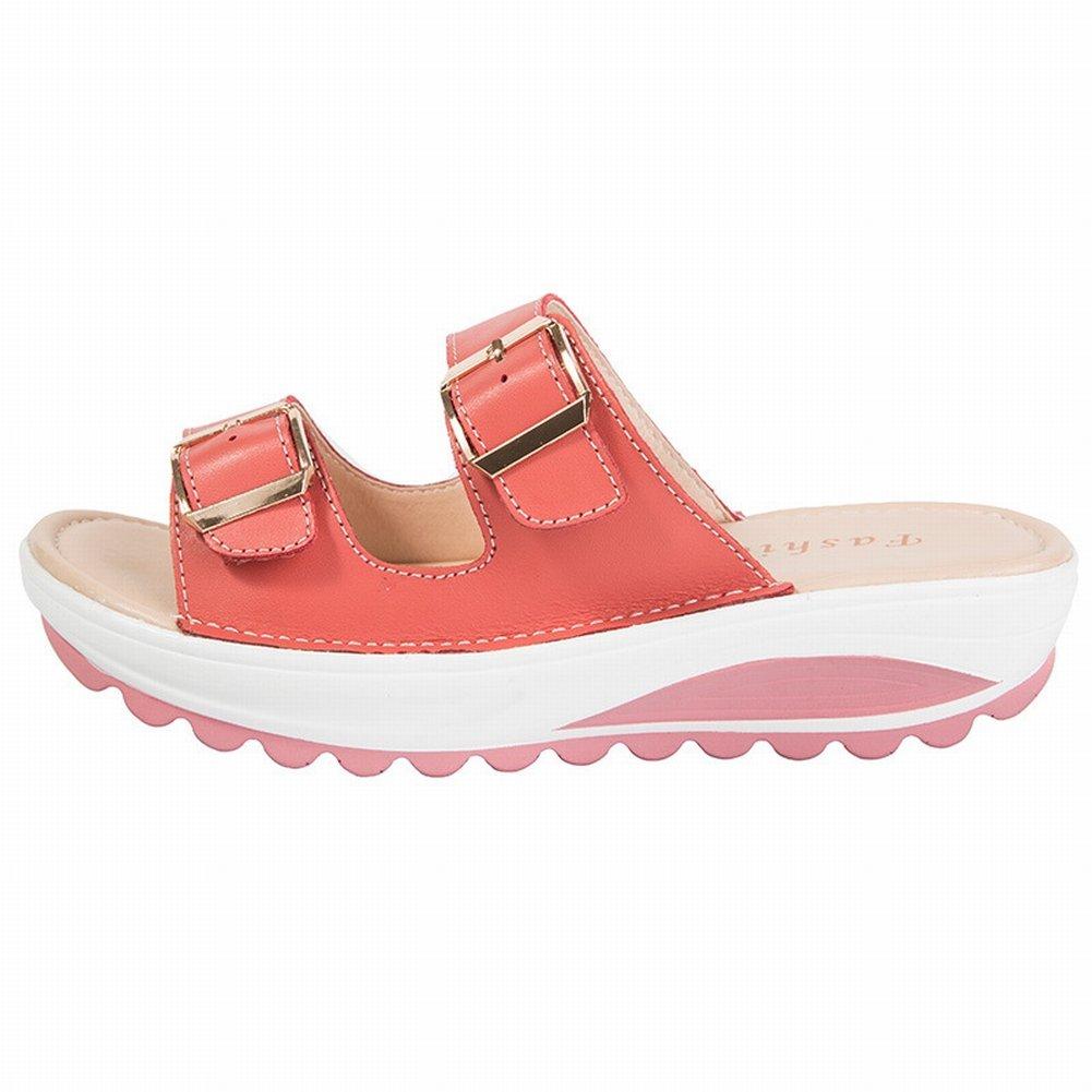 YTTY Female Sandalen Mode Sandalen Frauen Leder Hohe Frauen Sandalen  40|Wassermelonenrot