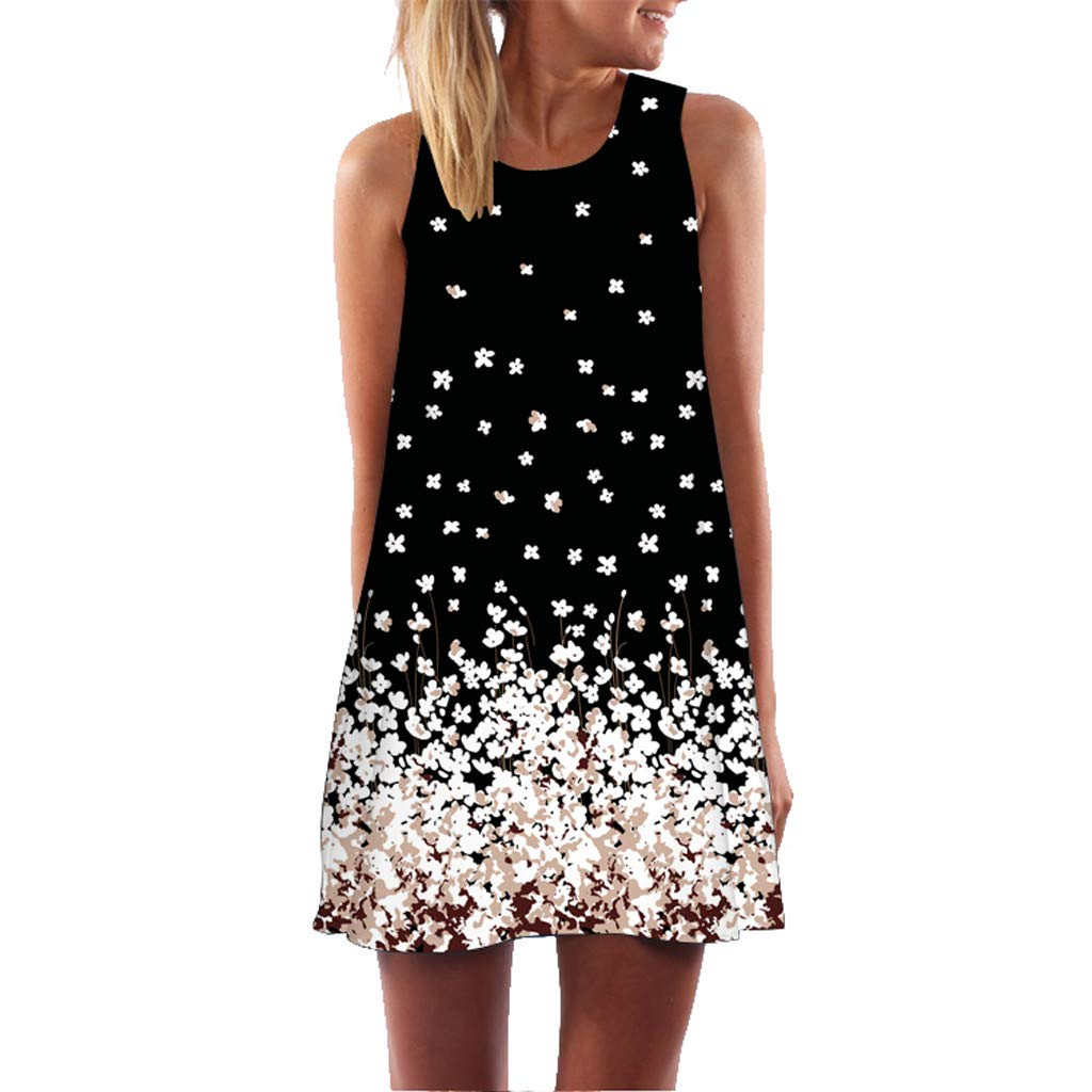 Women Shirt Dress Boho Fashion Printed Sleeveless O-Neck Beach Short Mini Dress Tops Shirt Dress for Women Plus Size
